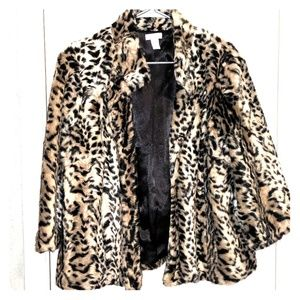 Chico's faux leopard fur swing coat 3/4 sleeves